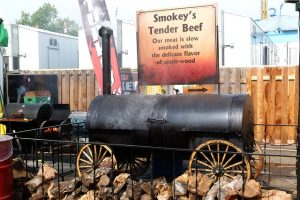 Photograph of a meat smoker